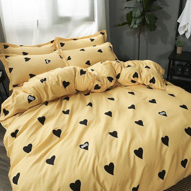 funda de edredón amarillo de serie a casa ropa de cama de corazón negro ajustado lado AB Sin funda de edredón de lino colcha hoja plana funda de almohada fazk #