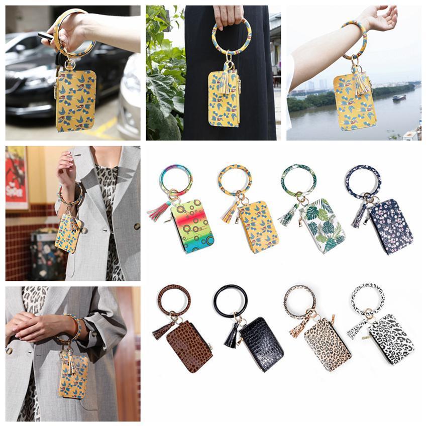 Femmes Mode Bracelet en cuir floral léopard Porte-clés carte de crédit Portefeuille O Porte-Clés Tassel Bandeaux embrayage bourse