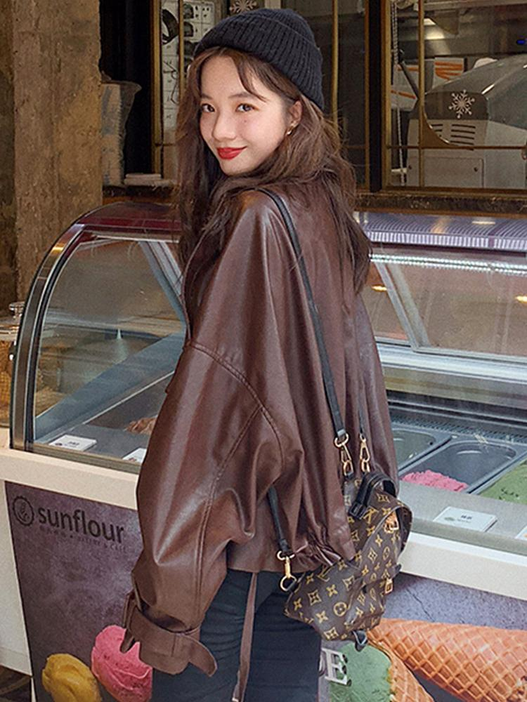 Lautaro oversized leather jacket women long sleeve Brown black loose faux leather jackets women Autumn plus size fashion 201016