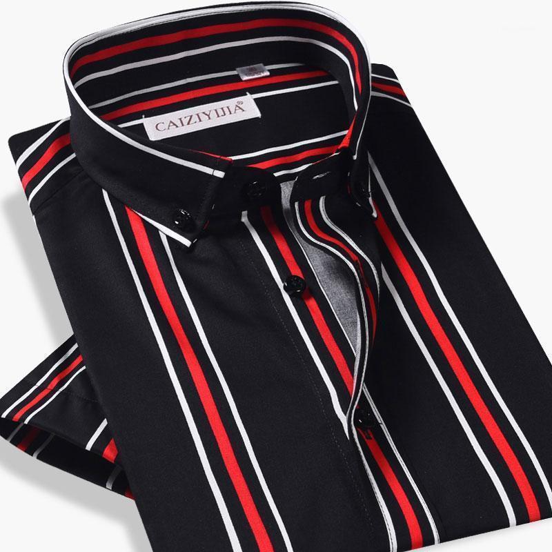 Мужские свитеры 100% хлопок мужская с коротким рукавом платья рубашка летняя мода полосатые мужчины пуговицы на пуговицах