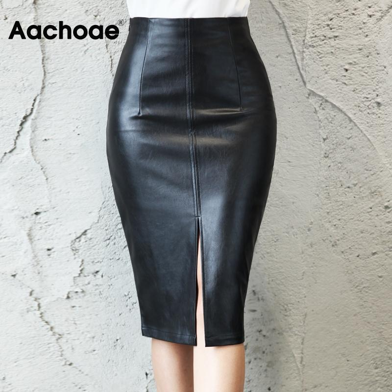 Aachoae 2020 donne di cuoio Fashion PU Faux matita gonne indossare in ufficio Split nero Gonna longuette Femminile Plus Size Chic aderente Gonna