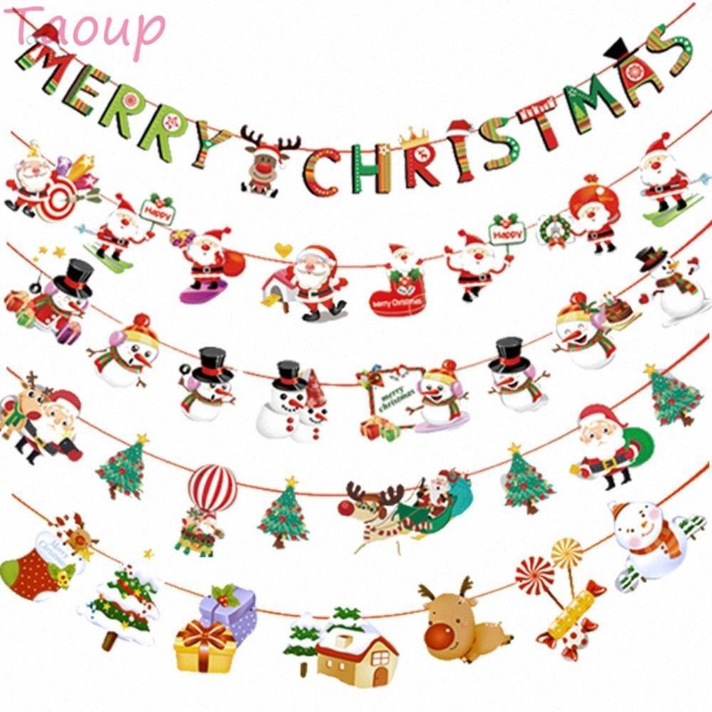 Taoup 3m Noel papier de Noël Bannières Navidad Décorations de Noël Décoration de Noël pour la maison Hanging bannières Père Noël bonhomme de neige qmJ7 #