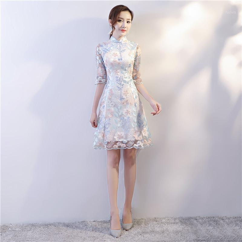 Estilo chino Boda Mini Cheongsam Sexy Slim Fiesta Vestido de noche Vestido Qipao Vintage Para mujer Bordado Ropa Vestidos1