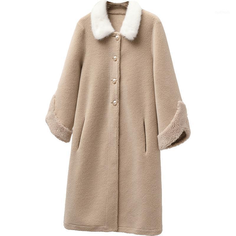 Женский меховой FUX REAL POOT Streetwear воротник шерстяной куртка осень зима женская одежда 2021 корейская овца шерстяная замшевая литьевая