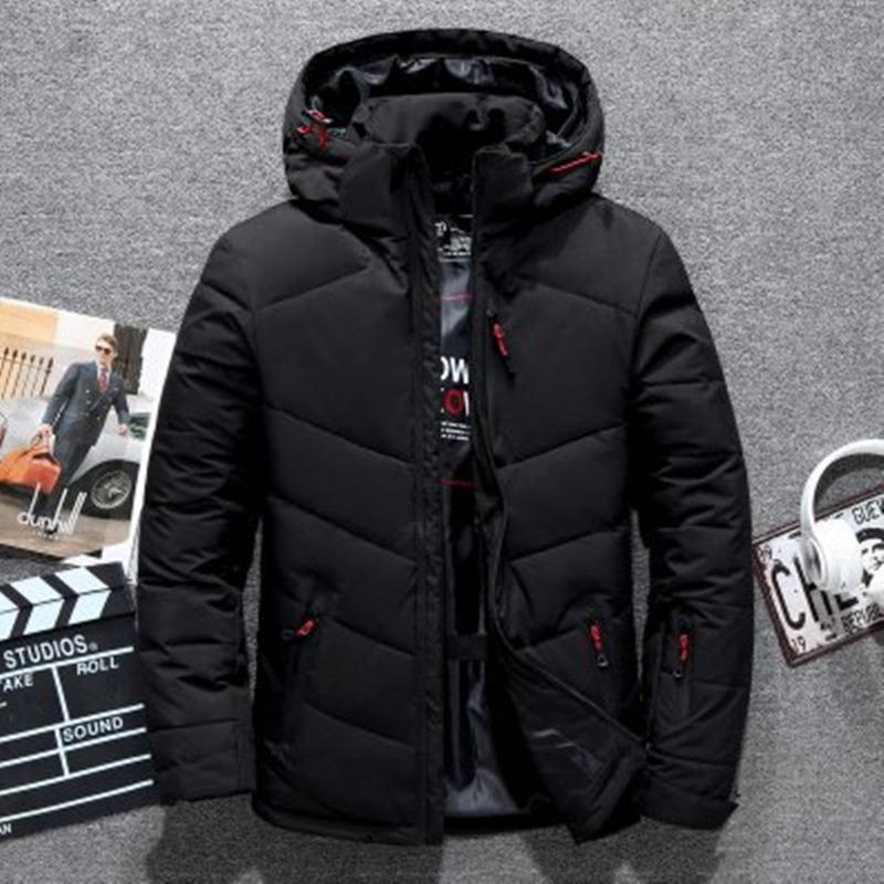 Thick Men Down Jacket Hooded Thicken Duck Down Parka Coat Casual Slim Down Mens Overcoat With Many Pockets 201022