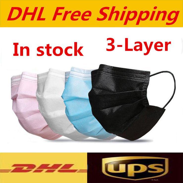 DHL UPS Kostenloser Versand Einweg-Gesichtsmasken Schwarzes Rosa Weiß mit Kasten mit elastischer Ohrschleife 3 lagige Atmungsaktive Staubluft Anti-Umweltverschmutzung Gesicht Ma
