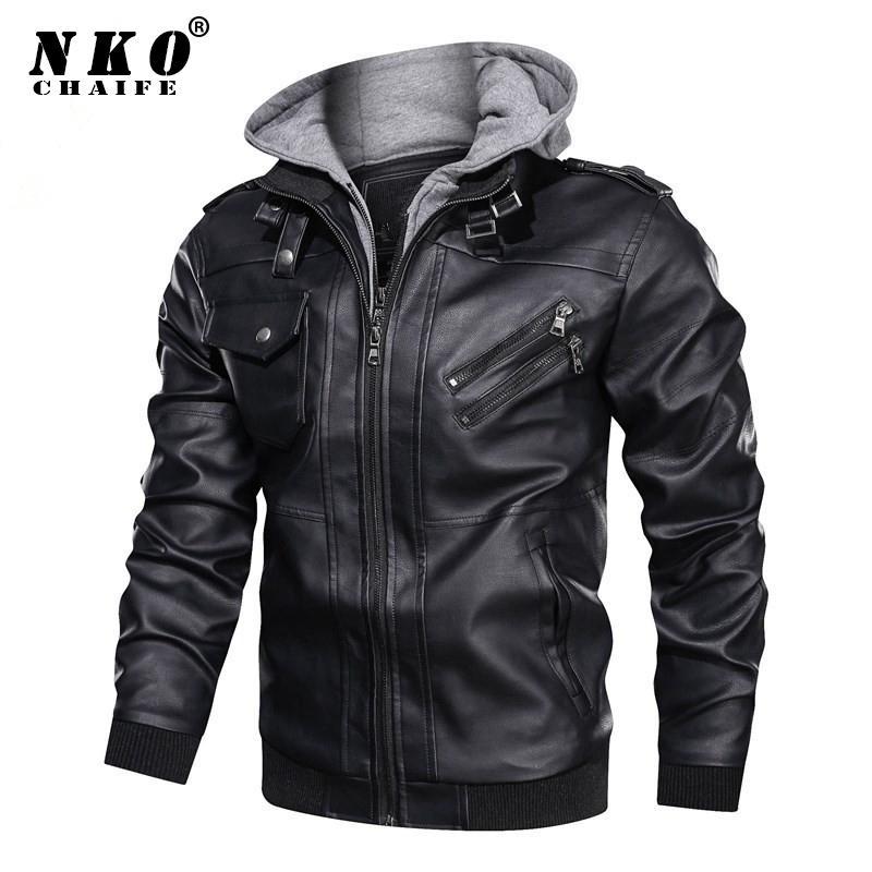 Chaifenko бренд зимнее пальто мода модный модный мотоцикл PU куртка повседневные велосипедные искусственные кожаные куртки мужчины 201120