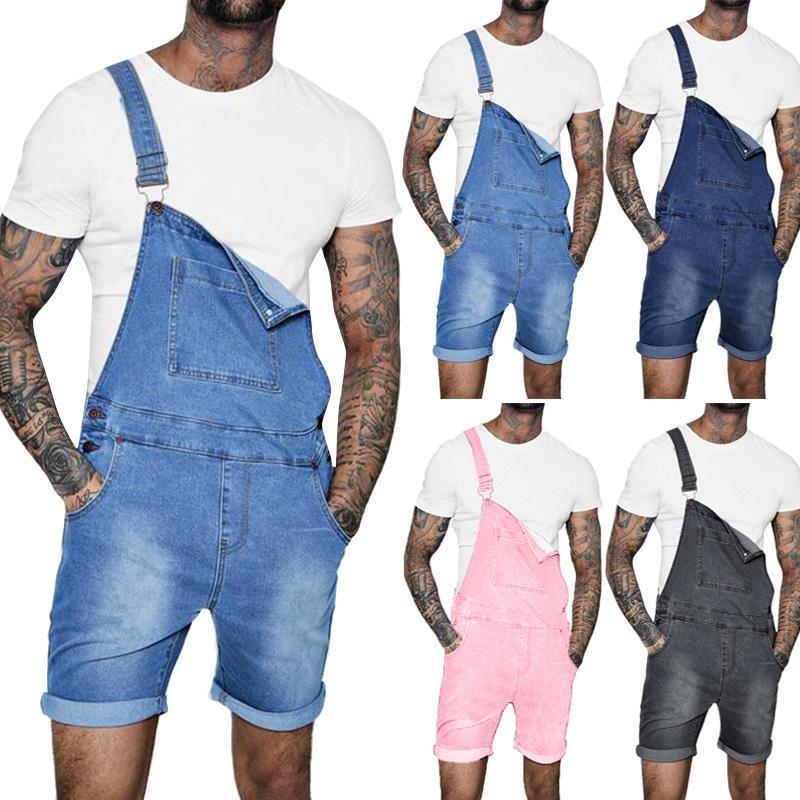 Neue heiße Art und Weise Männer Jeans Shorts Sommer Street Distressed Denim-Latzhose für Manntasche Jumpsuits