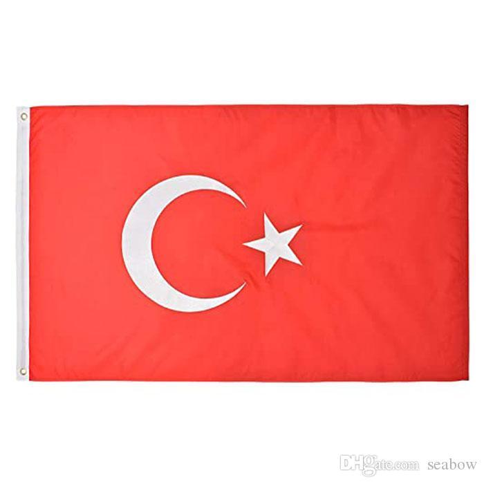 Die Türkei-Flagge Hohe Qualität 3x5 FT nationale Fahne 90x150cm Festival-Party-Geschenk 100D Polyester Indoor Outdoor Printed Flaggen und Banner