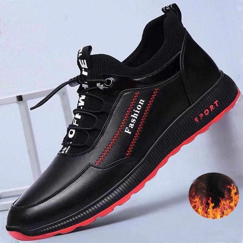 2020 Мода кожаные туфли мужчины повседневные туфли зима плюс бархат, чтобы держать теплые черные кроссовки ComfortBale мужчины квартиры обувь большие размеры # ST2L