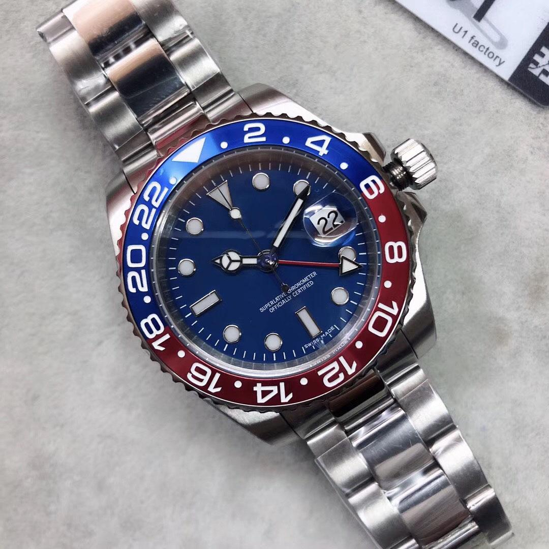 U1 Factory ST9 Stainless Steel Blue Red Bezel Blue Dial Automatic Movement Mechanical GMT Adjustable Men Oyster Belt Watches Wristwatches