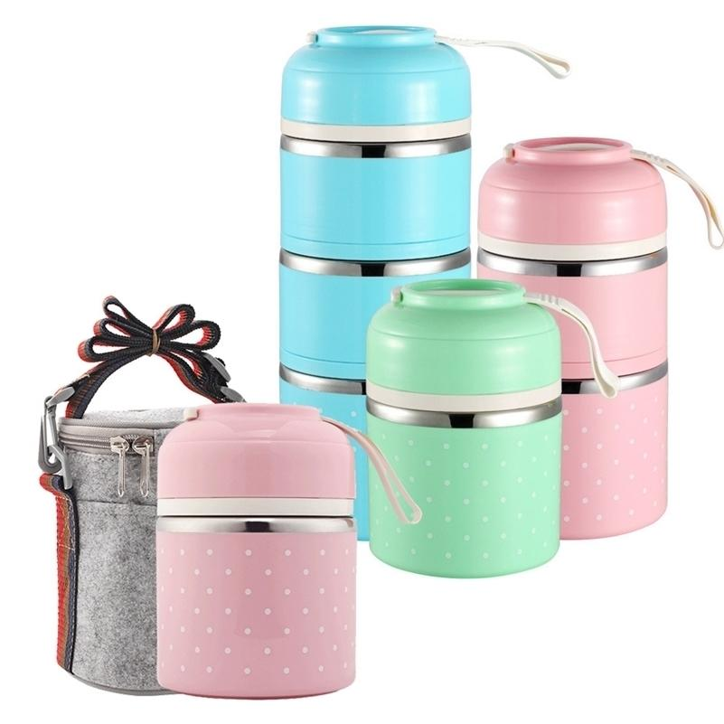 Caja de almuerzo de termos japoneses para contenedor de alimentos Caja de almuerzo térmico portátil lindo Bento Box Lunchbox Fugas a prueba de fugas 2 3 capas 201120