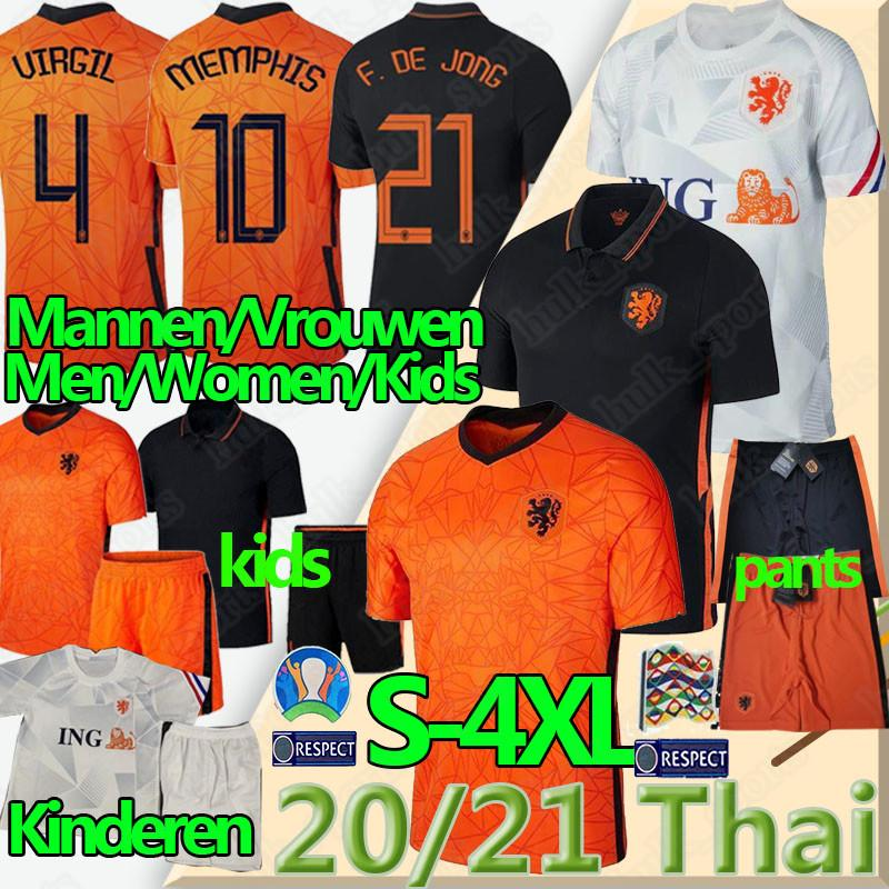 20 21 Netherlands soccer jerseys F. DE JONG WIJNALDUM Holland VIRGIL STROOTMAN MEMPHIS S-4XL men women kids football shirts pants uniforms