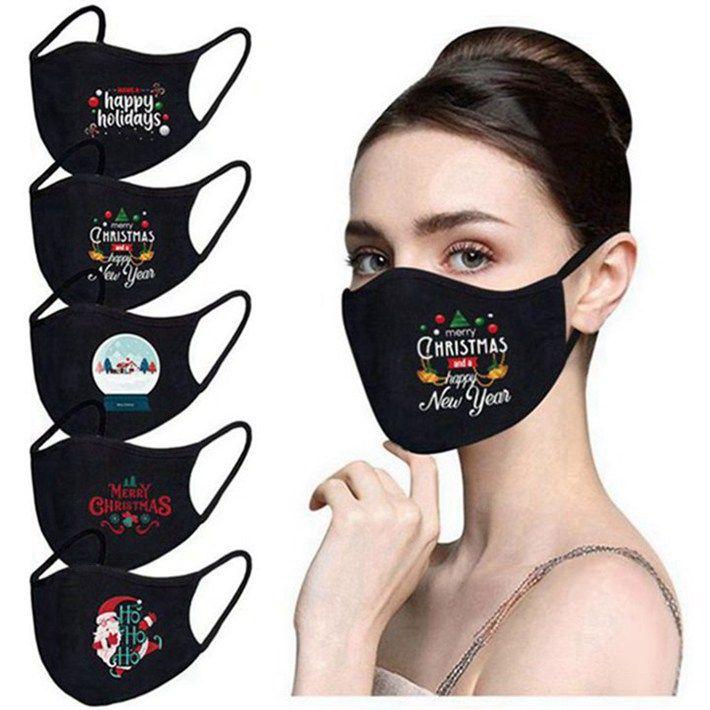 Party маска для лица с Рождеством Санта Снеговик дышащий моды маски пыли туман Pure Black Blank Washable хлопок маска для лица 50шт
