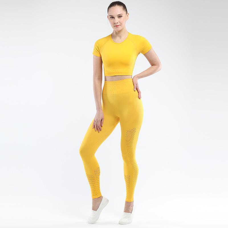 Mindstream senza saldatura Hip Set Yoga aderente sportivo insieme delle 2 parti Solid Abbigliamento fitness attrezzatura di ginnastica donne Palestra Tuta