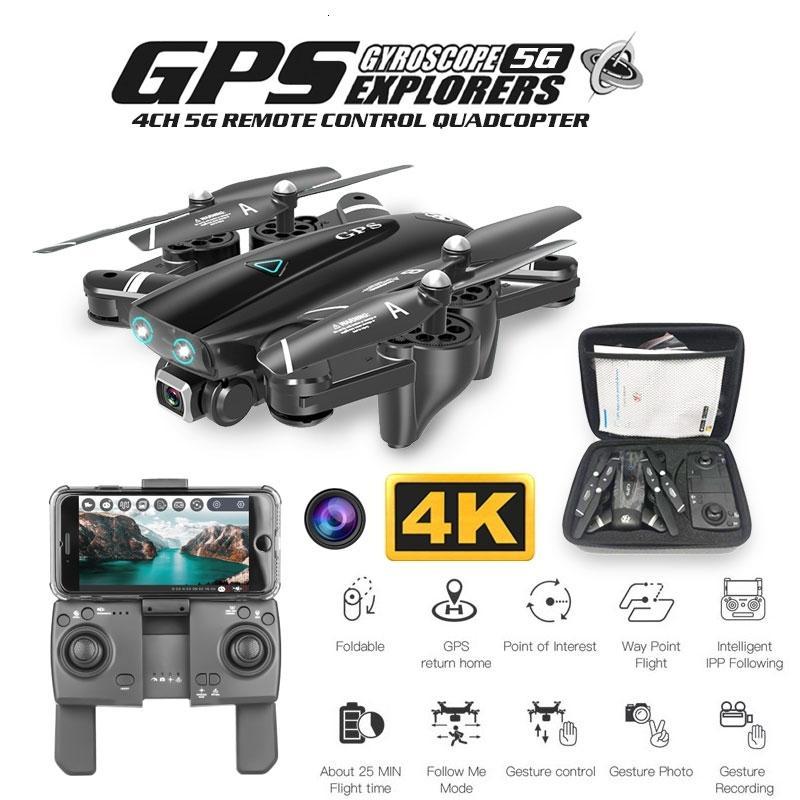 S167 GPS Drone с камерой 5G RC Quadcopter Drone 4K Wi-Fi FPV складной неточный летающий жест фотографии видео вертолет игрушка 201103
