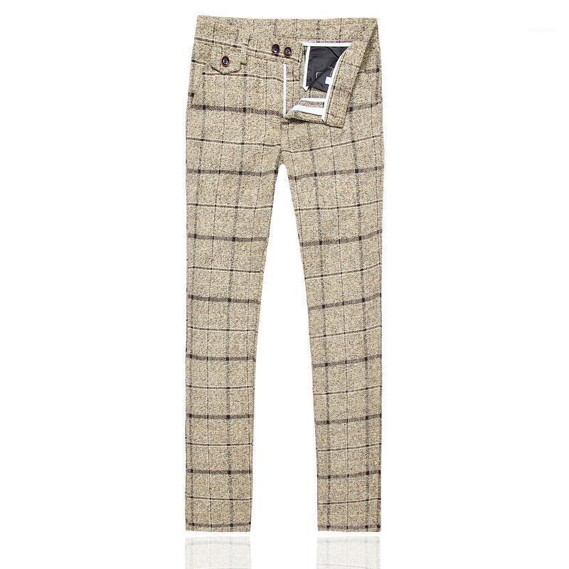 Pantalon de costume pour hommes d'hiver Taille S-5XL, Mode Business Pantalons décontractés Jaune Navy Bleu Black Pantalon à carreaux à rayures Black Male1