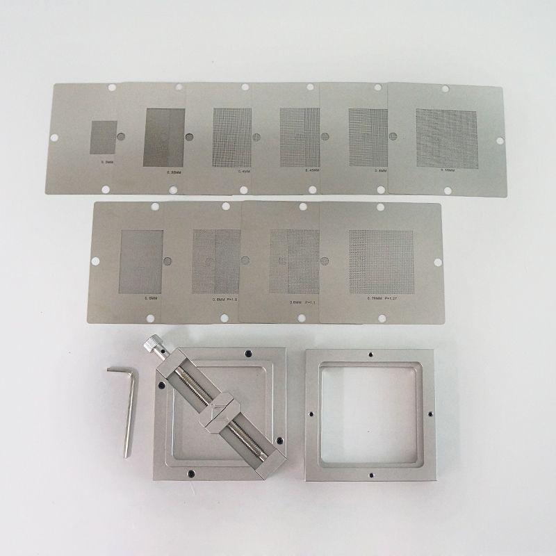 BGA Reballing Station Gümüş BGA Reballing Kiti 90 * 90mm 90x90mm HT-90 ile 10 adet BGA Evrensel Stencil