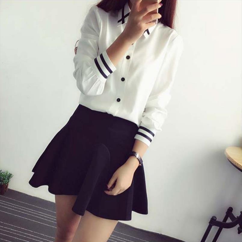 2020 Primavera-Verão Womens Office Lady Vire Collar manga comprida Escola Blusa de algodão macio Casual Branco Plus Size shirt Tops