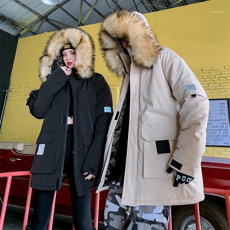Übergroße Hip-Hop-Reißverschluss Mantel Outwear Male 2020 Parkas Lange Jacke Männer Winter Pelzkragen Mit Kapuze Windjacke Mantel1