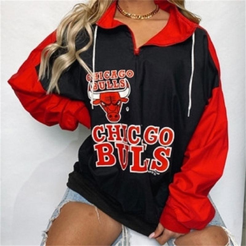 Black Red Letter Stampa Sport Sport Felpa Casual Donna Vintage Design Brand Design Zip Up Colletto Allentato Brush Moda Girls Plus Size 201208