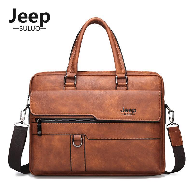 Erkekler Büro Dizüstü Bilgisayar Çantası A4 Pack Buluo 2020 Erkek Deri Omuz Crossbody Çanta 14 İnç Evrak çantası Erkek Çantalar