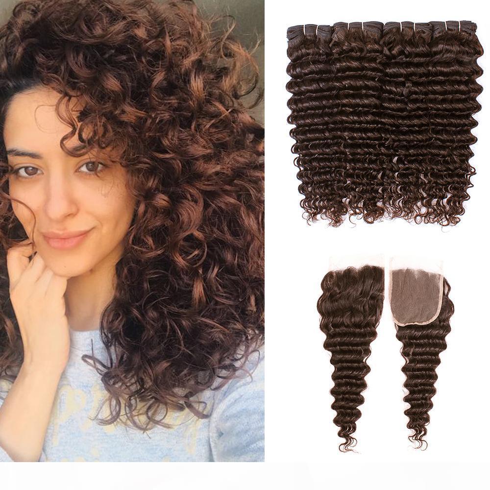 8A Brasileira profunda onda encaracolado pacotes de cabelo com fechamento # 4 médio marrom 4 pacotes com 4x4 fecho de renda Remy extensões de cabelo humano