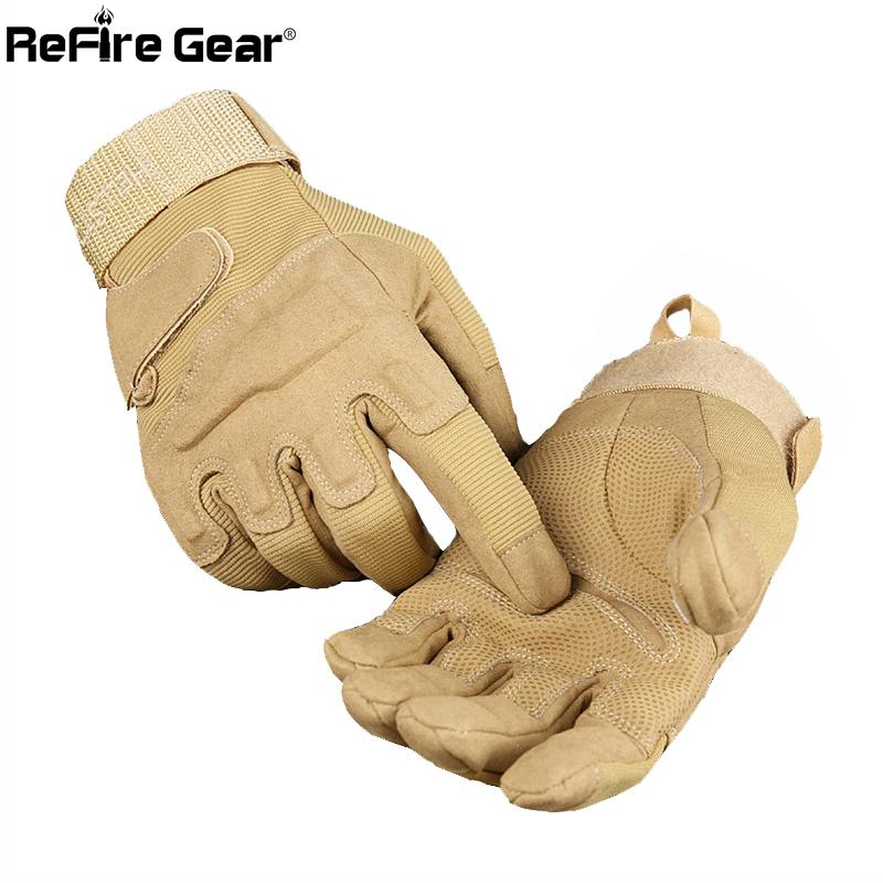 ReFire Gear Army Combat Tactical Gloves Men Military Police Soldiers Paintball Full Finger Gloves Male SWAT Fight Shoot Mittens 201019