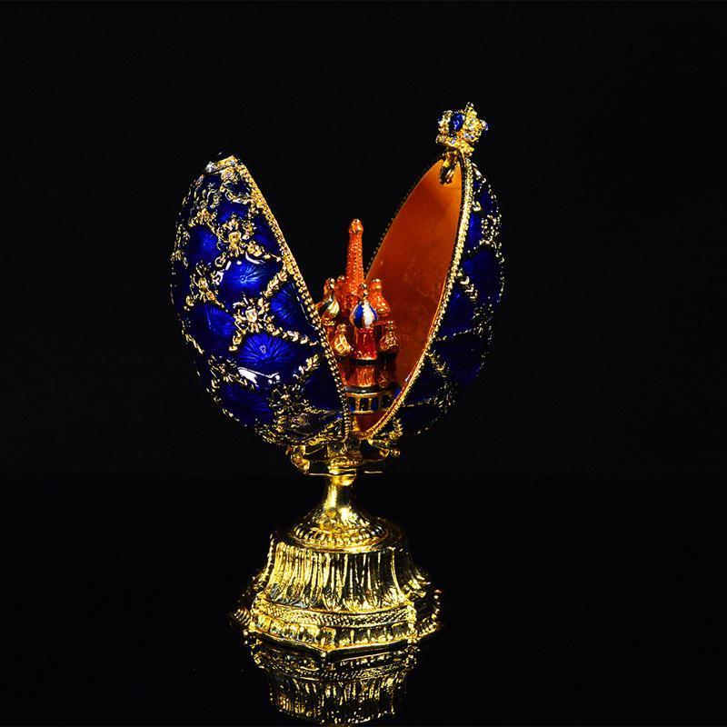 Geschenk mit Ei Faberge Metall Schöne Handwerk Kleine Schloss Qifu ohghl