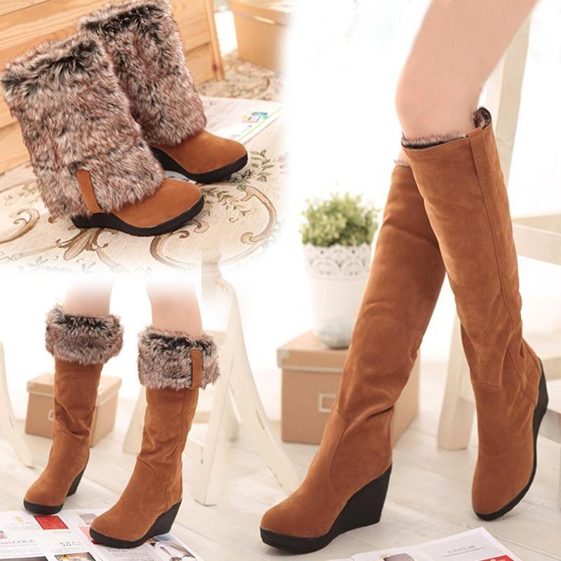 Dilalula 여성 3 개 스타일 스노우 부츠 겨울 따뜻한 모피 신발 여성 웨지 하이힐 플랫폼 니 하이 부츠 여성 큰 사이즈 34 ~ 43