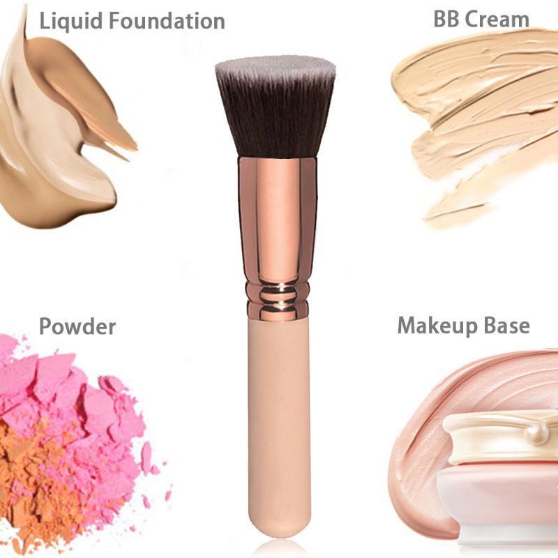 Pinceaux de maquillage 1pc Champagne Plat Top Foundation Brosse Grand visage Contour de réparation pour la crème liquide