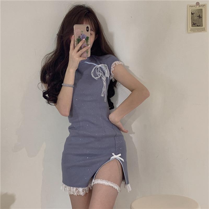 Patchwork Dantel Mavi Yay Bandaj Bodycon Elbise Akşam Parti Cheongsam İyileştirme Seksi Mini Elbiseler Fow Kadınlar Yaz Hipster Yeni Y1224