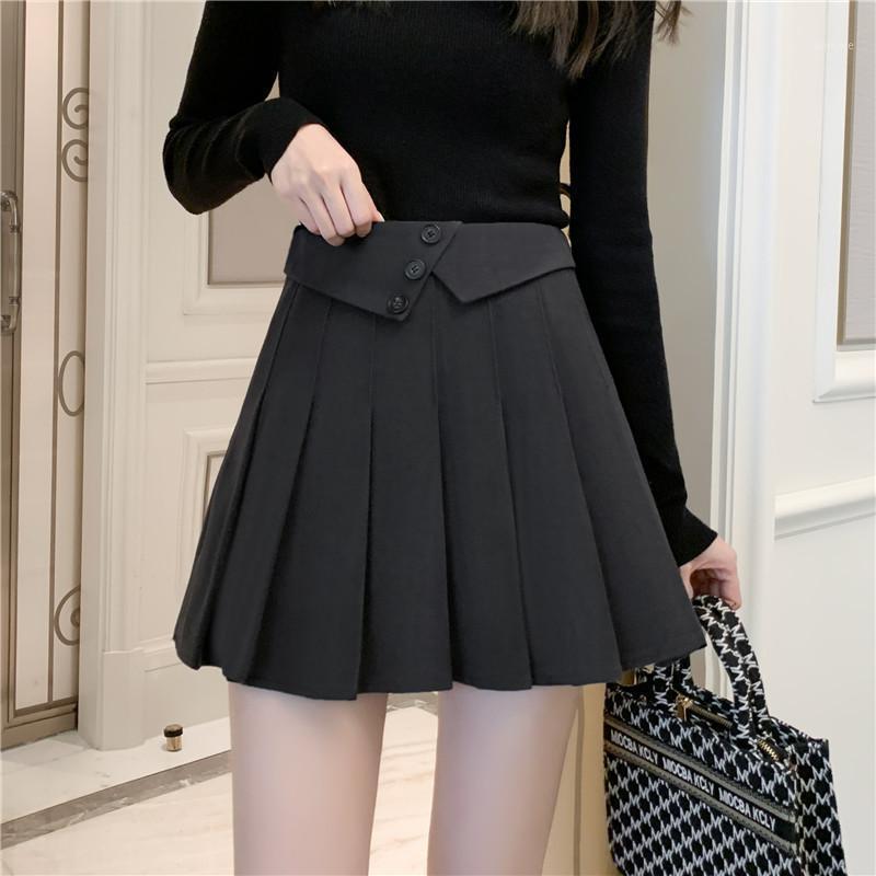 Fall Winter 2020 New woolen pleated short Skirt A-line High Waist pants skirt Pleated Mini versatile black1