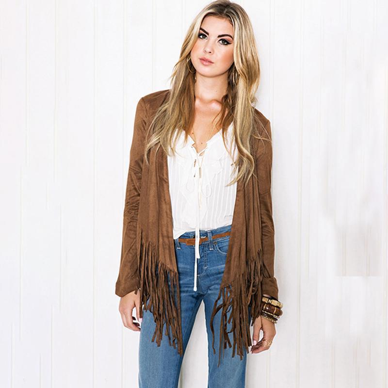 Vintage Hem Quaste Cardigans Jacken Frauen Frühling und Herbst Jacke Oberbekleidung beiläufige dünne Hem Quaste Öffnen Stich Mantel Weiblich