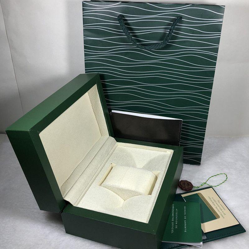 Yeni Moda Lüks Yeşil Orijinal İzle Kutusu Tasarımcısı Hediye Kutusu Kart Etiketler ve İngilizce Kitapçık Ahşap Saatler Kutuları Kutuları 0.8kg