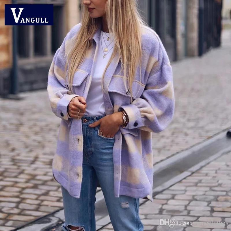 Wangull сладкий плед шерстяной рубашки рубашки женские модные карманы поворотный воротник хомут