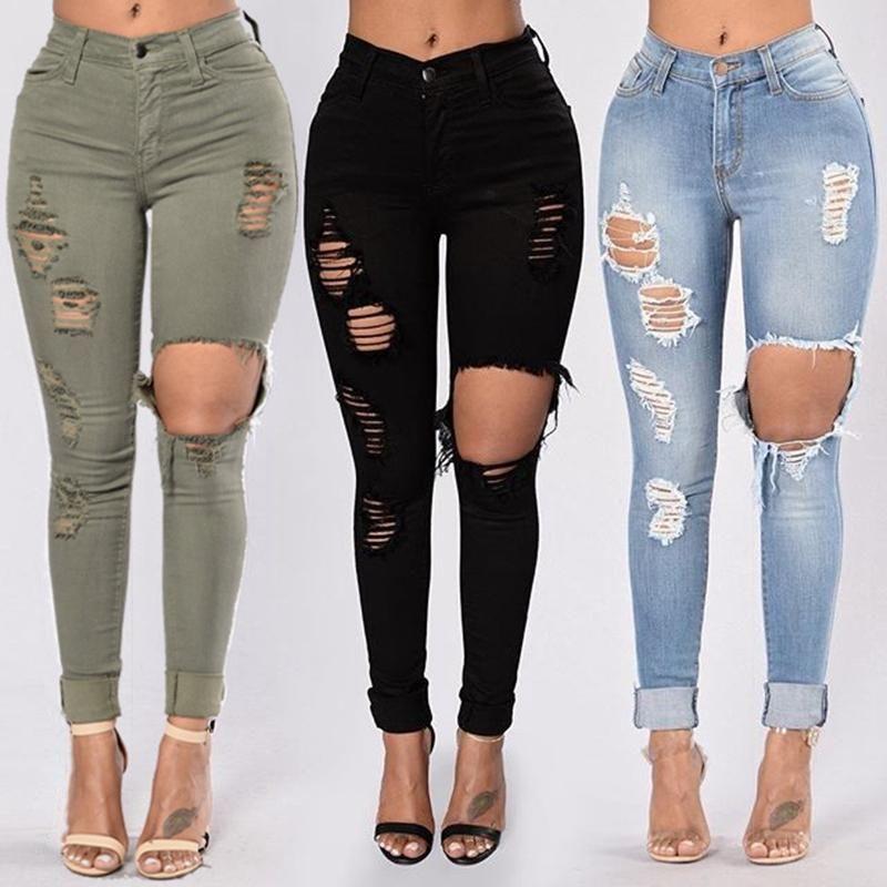 Nero jeans strappati per le donne Denim pantaloni della matita dei pantaloni a vita alta Stretch Skinny jeans strappati Jeggings Plus Size mamma 2020