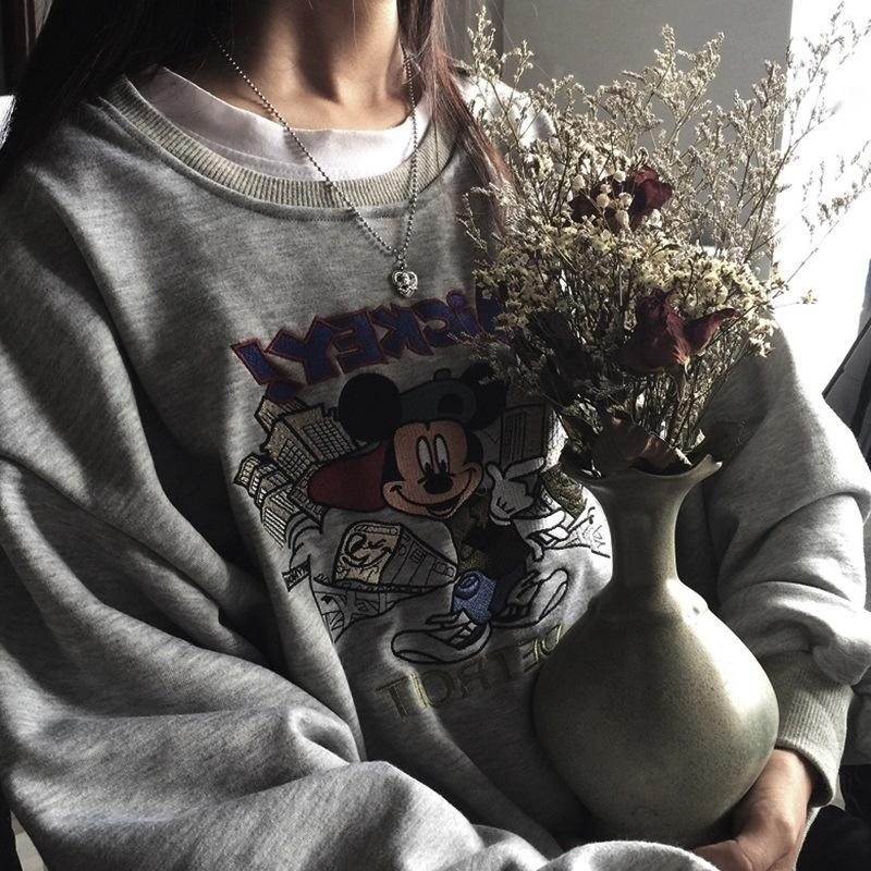 Cotton autumn winter 2020 New South Korea East Gate cartoon embroidery long sleeve round neck thin Top Sweater embroidered sweater girls' to