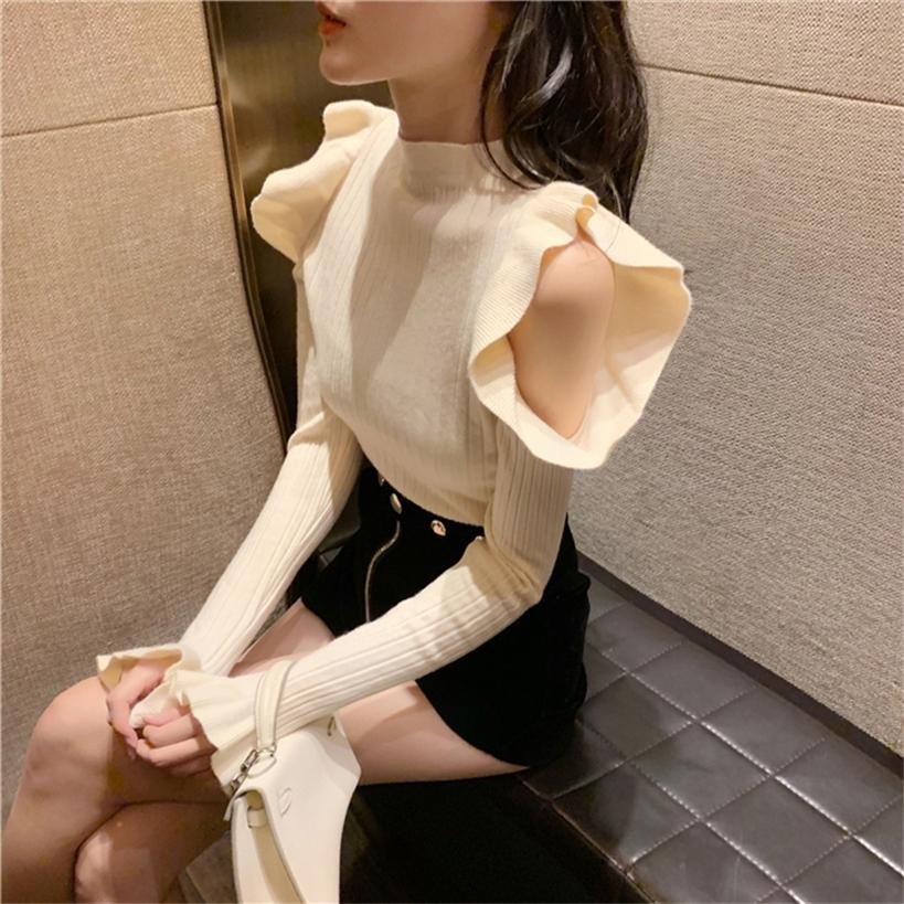 sexy knitted hollow out Designer fashion brand pullovers Slim club off shoulder ladies tops spring autumn sweater women new 201221