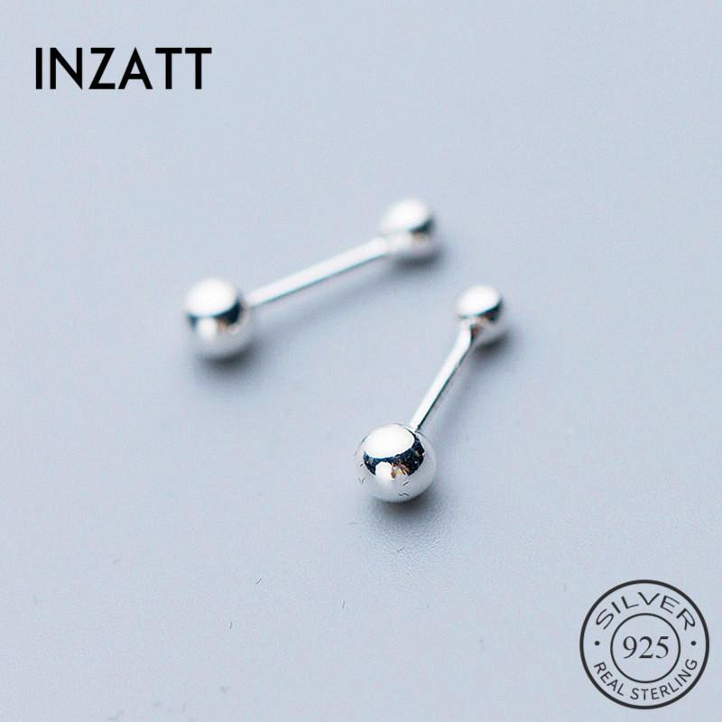 925 gümüş Minimalist Yuvarlak Küçük Boncuk Küpe İçin Moda Kadınlar Partisi Güzel Takı Geometrik Aksesuarları INZAReal