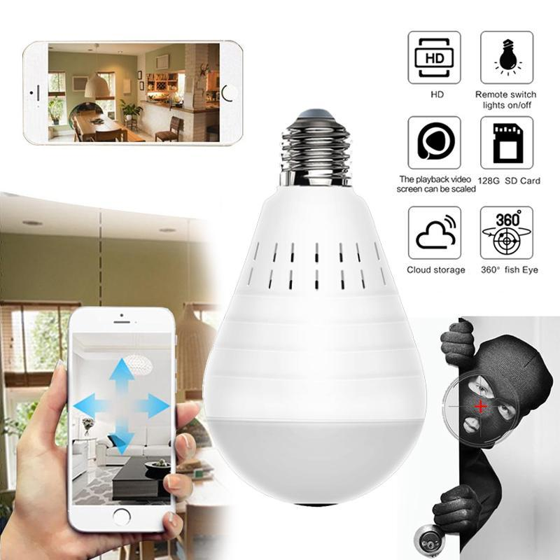 Лампа Wifi панорамная камера безопасности Панорамный Лампочки Видео камеры видеонаблюдения Беспроводная Ip видеонаблюдения Fish Eye HD