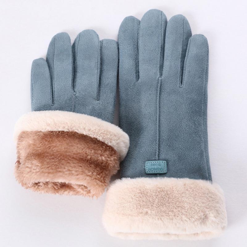 새로운 패션 여성 장갑 가을 겨울 귀여운 모피 따뜻한 장갑 전체 손가락 장갑 여성 야외 스포츠 여성 장갑 화면