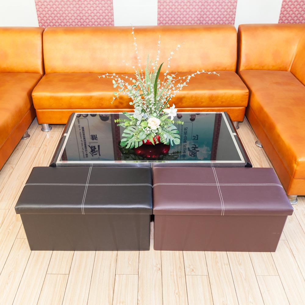 Living Room Furniture rectangle Shape Practical PVC leather classic Waterproof black high quality durable and safe footstool
