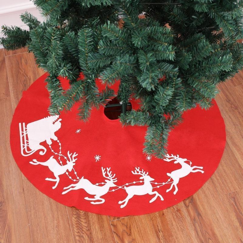زينة عيد الميلاد الغزلان عربة شجرة تنورة السجاد المئزر الأحمر الخيش الساق قاعدة ديكور الأيائل جولة 100 سنتيمتر J1