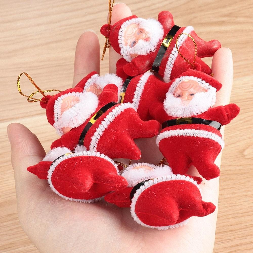6 piezas de árbol de Navidad de Navidad de Santa Claus gota Partido multicolor Adornos colgantes regalos Decoración Niños favores de la decoración 7ILi #