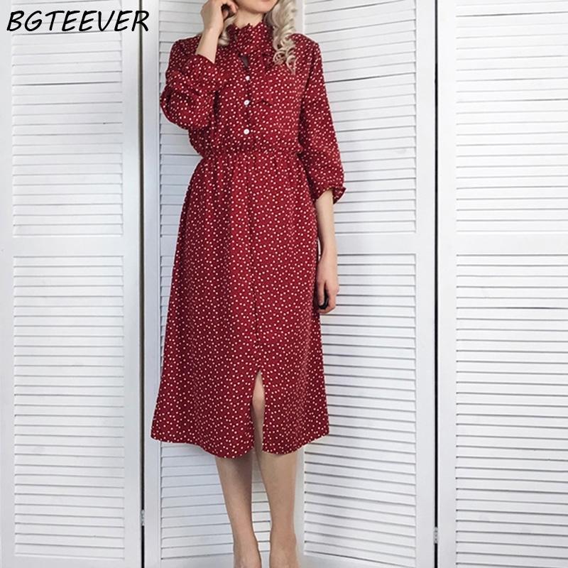 Bgteever Elegant Stand Collar Polka Dot Chiffon Women Dress Flare Sleeve Side Split Female Dress Spring Women Midi Vestidos 201022