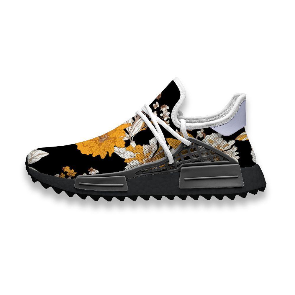 Пользовательские кроссовки Элегантный Желтый Белый Цветы Human Race NMD Trail Mens вскользь тапки комфортно