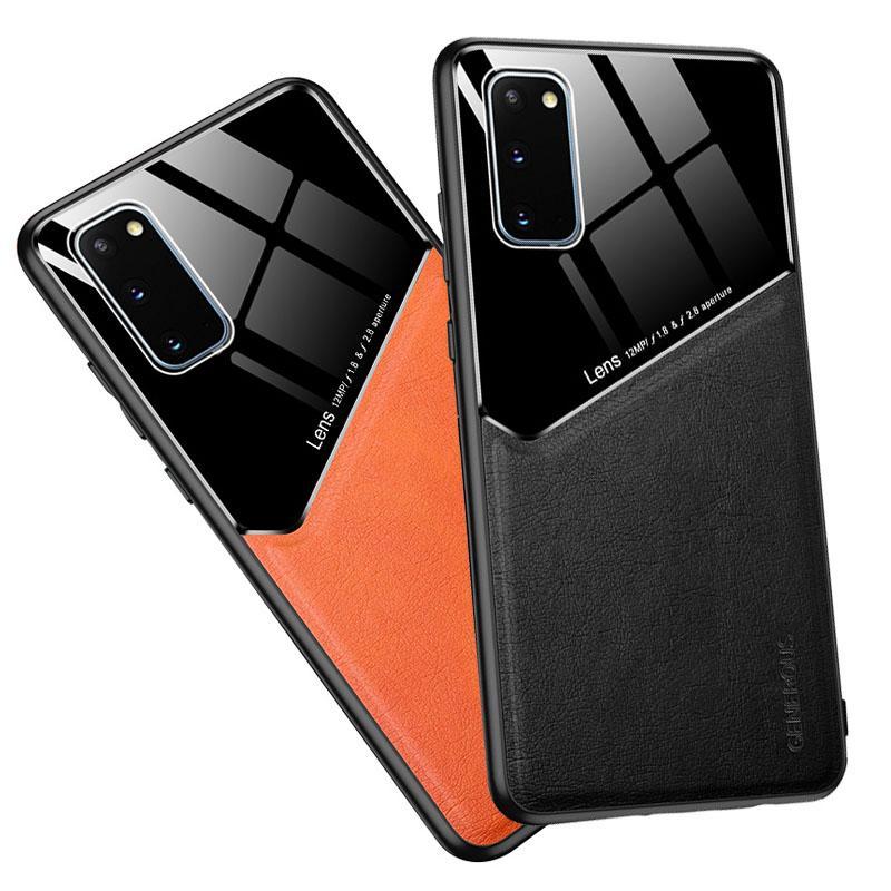 Capa de telefone acrílico PU para Galaxy S20 Ultra S20 S10 Note20 Plus Soft Bumper Magnetic Cover para Samsung A81 A71 A51