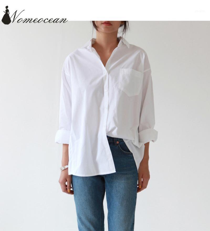 Случайные женские рубашки 2018 новое поступление плюс размер блузки с длинным рукавом Buons карманная белая рубашка S-3XL негабаритная рубашка M180209041