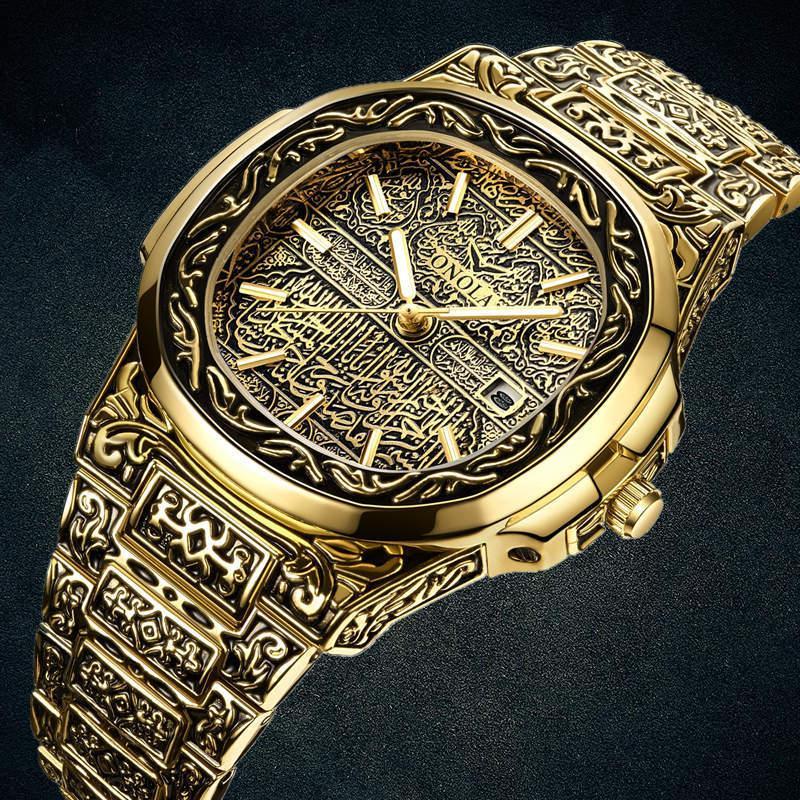 Moda quarzo di marca di lusso ONOLA mens d'oro degli uomini di acciaio inox oro retrò orologio Reloj hombre